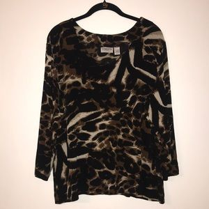 Chico's Travelers Leopard Long Sleeve Blouse